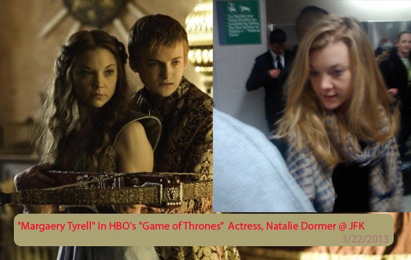 Image: (left) HBO's Game of Thrones ; (right) Actress Natalie Dormer at JFK airport