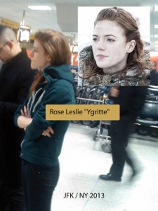 Rose Leslie at JFK airport (c) Allan Townsend